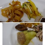 四川料理 巴蜀 - *上:干し豆腐と唐辛子の和え物。 *下:かわ海鼠と焼きナスの胡麻風味・・海鼠もコリコリした食感がして初めての味わい。