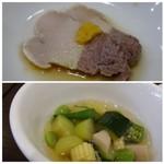 四川料理 巴蜀 - *上:鯨の畝・・辛子がいいアクセントになっていますね。 *下:胡瓜・オクラ・ヤングコーンの煮びたし。これはさっぱりした味わいで暑い日には最適