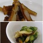 四川料理 巴蜀 - *上:穴子の燻製・・少し噛みごたえがありますが、噛むと穴子の旨みを感じます。 *下:胡瓜・サザエのオリーブオイル和え