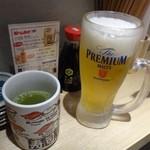 すし吉三平 - ◆主人は生ビール(500円)、私は1軒目で呑んでいますのでお茶を。