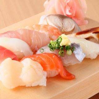 単品一貫50円~!寿司職人が丹精込めて握ります!