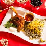 いわま餃子 - 大人気ペルシャ料理 マヒーチェ&バガリポロセット(ラム肉の煮込みとそらまめとハーブのビリヤニ)