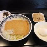 製麺屋慶史 麺ショップ 西月隈 - 暫く待つと注文した肉油そば650円にきつね200円トッピングの出来上がりです。