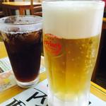 魚屋直営食堂 魚まる - オリオン生ビールとコーラ