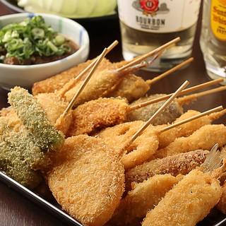 牛串、豚串、キス串など色とりどりの串カツ22種が食べ放題!