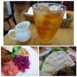 アフタヌーンティー・ティールーム - ◆ドリンクは「オレンジアールグレイのアイスティー」、、お紅茶は滅多にいただかないのですが、たまに頂くといいですね。 ◆「豆のマリネ」「赤キャベツのコールスロー」「自家製フルーツチャツネ」とパパド。