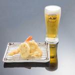 お気軽天ぷら処 天神 - 【ちょい呑み 生ビールセット】生ビール+海老、ふもと赤鶏、野菜
