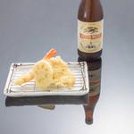 お気軽天ぷら処 天神 - 【ほろ酔い地酒セット】地酒+海老、ふもと赤鶏、野菜