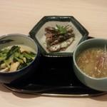 日本酒とおばんざい 北庵 - おばんざい3品 薄揚げと小松菜の煮びたし・冬瓜のそぼろ煮・イワシの梅煮