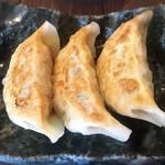 丸田や - ジャンボ焼餃子 ¥500  何も付けないで食べることを勧められます。確かに下味がしっかりしていて、そのままでも美味しいですが、自家製と思わしき辣油付けるとより美味しくいただけました。