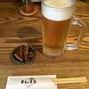 まんまる - ドリンク写真:生ビールとお通しの骨せんべい('17/07/15)