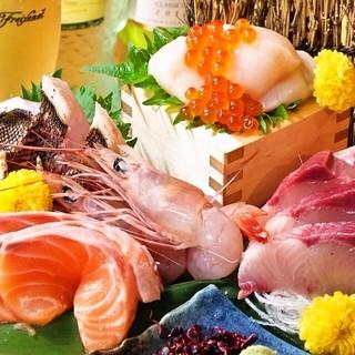 店内に並ぶ鮮魚の数々♪ハゼルの定番、海鮮盛り盛りの刺し盛り♪