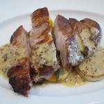ランデヴー・デ・ザミ - お肉料理 さつま豚肩ロースのロティ、粒マスタードソース