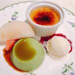 70078203 - 抹茶のプリンとクリームブリュレ