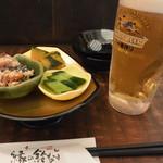縁の鈴なり - 生ビール&お通し三種盛り