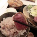 石焼き牛かつ 二階堂 - 薄いがカリッと揚がった衣と、まるでローストビーフのようなシッカリとした肉の旨味!