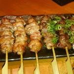 鳥どり総本家 - ハラミ串塩焼き&ハツ串葱塩焼き