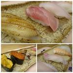 味処 大丸 - ◆「まぐろ」「烏賊」「雲丹」「イクラ」「サザエ」「カンパチ」「海老」「穴子」「もう一つは何かしら。 シャリは一般的な品で、大きさは普通。生寿司ですでネタが新鮮だと申しておりました。