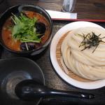 極楽うどん Ah-麺 - 豚バラ肉と茄子の辛つけ麺