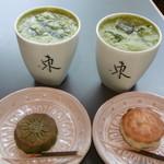 茶廊・葉風泰夢 - 抹茶オーレと日餅2種