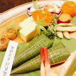 八寸 里芋 鯛のチマキ 玉子焼き さつまいも 水菜枝豆 イチジクのクリーム煮