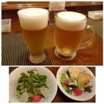 KATZ - ◆Bセット(サラダ1品選択+指定ドリンクから1品:500円)を二つオーダーし、ビール一つは+100円で「中ジョッキ」にしました。