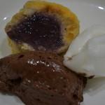 東京パリ食堂 - デザート(ブルーベリーのケーキ、レモンのソルベ、チョコムース)