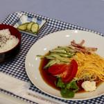 名古屋コーチン食堂 - 料理写真:冷やし中華&ライス