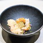 珀狼 - 甘海老のカルパッチョ、  コンソメで炊いた冬瓜、  もろみ味噌と冬瓜のアイスパウダー
