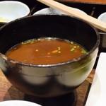 蔵人厨 ねのひ - 根菜たっぷり味噌汁(赤鶏の炭焼き膳)