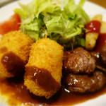 辰五郎 - コンビネーションランチ(えびクリームコロッケ&牛肉の照り焼きステーキ))