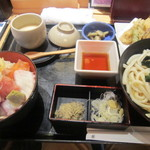 すし屋 銀蔵 - 海鮮丼と野菜天ぷらうどんセット