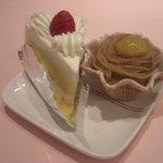 パイの樹 - 左:定番のショートケーキ 右:定番のモンブラン