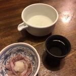 麺処 おおぎ - お酒とお通しのタコわさび