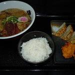 麺王者 井岡亭 - 井岡亭ランチ!らー麺+餃子+唐揚+ごはん