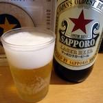 ふれあい酒場ほていちゃん - 「サッポロクラシックラガー」大瓶。410円也。