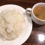ぶどう亭 - お代わり自由の大盛りライスとスープ