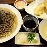 手打ちそば 元寿庵 - ざる蕎麦天ぷら 1100円