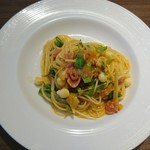 70216410 - 生ハムと モツレアチーズ  トマト     フェデリーニ                       お皿も ようく 冷やしていました                        パスタももちろん      関宿で こんな 美味しい冷製パスタ                       食べられるとは 思いもしませんでした