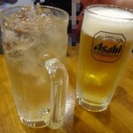 親父の料理 - ◆生ビール(中:380円) ◆ジンジャーエール(250円)