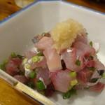 親父の料理 - ◆鯵のたたき(280円)・・新鮮な鯵は生姜醤油で頂きます。