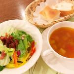 70227169 - Aランチのサラダ、スープ、パン