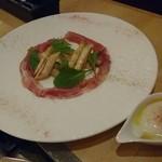 千ろ屋 - ホワイトアスパラのソテー 生ハムと半熟卵添え 1,200円