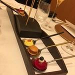 レストラン ラ フィネス - 静岡の鱒、丹波シメジ、 トウモロコシのムース、フォアグラのムース、ビーツのスープ