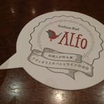 美味しいラビオリとワイン イタリアンバルAlfo - コースターも可愛らしい