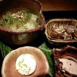 70240844 - 八寸(枝豆のチーズ寄せ,赤むつの肝,喜界島の海ぶどう,和歌山のそうめん瓜とゴーヤ)