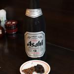 鰻禅 - 2017.7 肝の味噌和え、カブトの有馬煮、ビール中瓶(600円)
