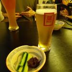 せきのいち - お通しとビール