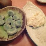 小石川 かとう - そら豆と生湯葉の刺身