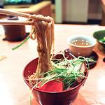 70282501 - 坦々麺。麺は、タカムラ麺というオリジナルです。麺は、ぎばさという秋田県で取れた海藻を使っています。見た目はそばに似ていますが、蕎麦粉を使っていないので、蕎麦でもない。